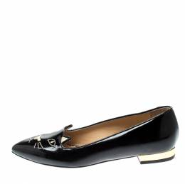 Charlotte Olympia Black Patent Leather Mid Century Kitty Ballet Flats Size 35