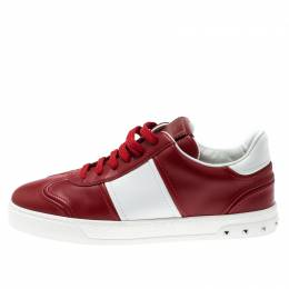 Valentino Red/White Leather Fly Crew Low Top Sneakers Size 40.5 210609