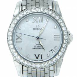 Omega White Prestige Mop Dial Deville Full Diamond Bezel & Dial Women's Watch 31MM 210696