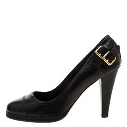 Burberry Black Leather Embellished Pumps Size 39 209295