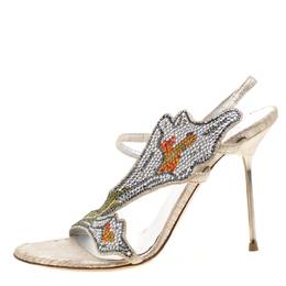 Loriblu Metallic Beige Suede Crystal Embellished Slingback Sandals Size 38 209125