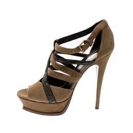 Saint Laurent Brown Suede And Python Leather Platform Sandals Size 39 209722