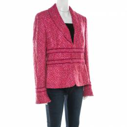 Escada Pink and Purple Wool Blend Tweed Blazer L