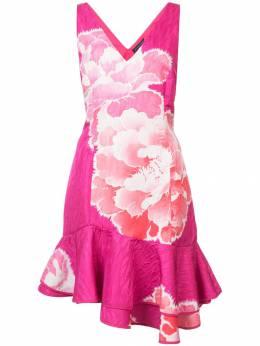 Josie Natori платье с рюшами с принтом E13005