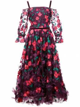 Marchesa Notte платье миди с объемным цветочным декором N24G0670