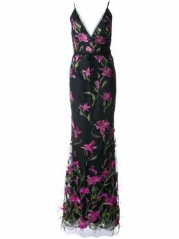 Marchesa Notte удлиненное платье с цветочной вышивкой N25G0653