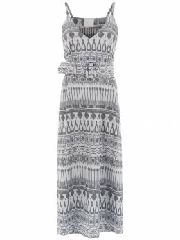 Framed printed midi dress 25890