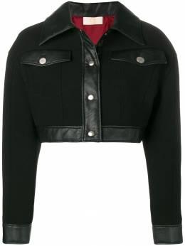 Sara Battaglia укороченная куртка с кожаной отделкой SB8013TE319W9