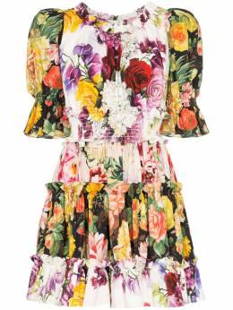 Dolce&Gabbana платье мини с пышными рукавами и цветочным принтом F6C7STGDL87