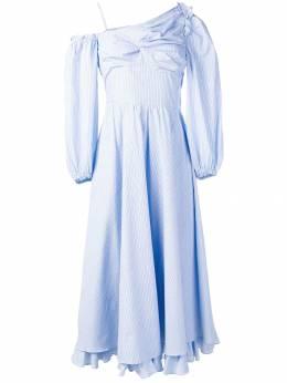 Alexa Chung платье на одно плечо в тонкую полоску 1804DR07CO258414