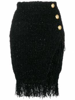 Balmain юбка с запахом и бахромой RF24607K326