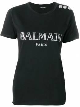 Balmain футболка с контрастным принтом логотипа RF01322I170