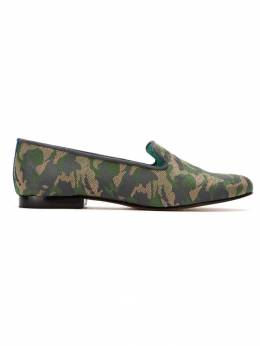 Blue Bird Shoes leather and cotton jacquard loafers LOAFERCAMUFLADOJACQUARDVERDE