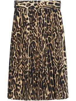 Burberry леопардовая юбка со складками 4548481