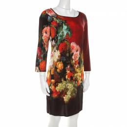 Just Cavalli Multicolor Floral and Fruit Print Stretch Crepe Dress S 210631