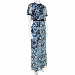 Self-Portrait Blue Floral Embroidered Layered Florentine Maxi Dress S