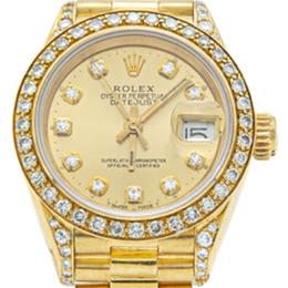 Rolex Champagne Dial 18K Yellow Gold Datejust Diamond Dial & Bezel Women's Watch 26MM