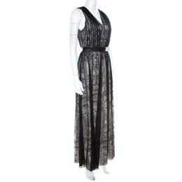 Alice + Olivia Black Lace Leather Trim Sleeveless Sybil Maxi Dress S 211158