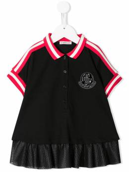 Moncler Kids рубашка-поло с сетчатой отделкой 83552008496F