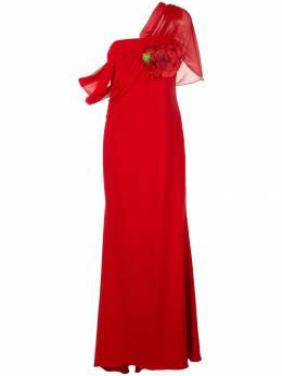 Badgley Mischka платье асимметричного кроя с драпировкой EG2627