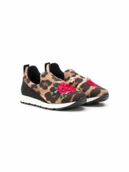Dolce & Gabbana Kids леопардовые кроссовки слипоны D10711AK430