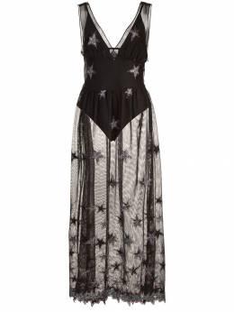 Fleur Du Mal сетчатое платье с V-образным вырезом 'Superstar' DR01220384