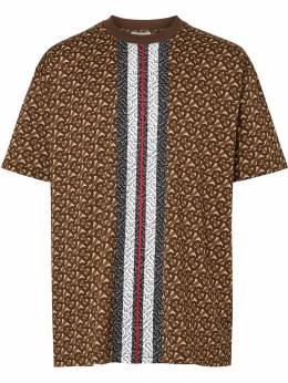 Burberry футболка с монограммой и принтом в полоску 8018239