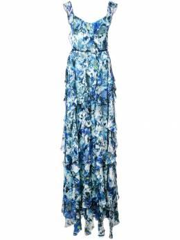 Marchesa Notte длинное платье без рукавов с оборками N27G0753