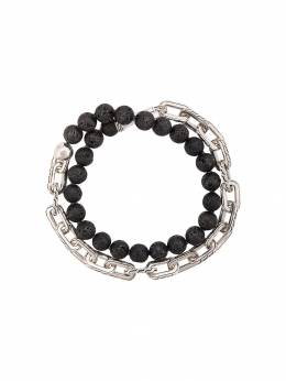 John Hardy Silver Classic Chain Volcanic Bead Double Wrap Bracelet with Hook Clasp BMS946581VO