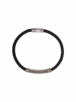 John Hardy Silver Classic Chain Woven Leather Bracelet with Jawan Station BM932651BL