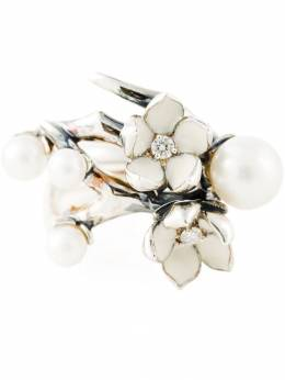 Shaun Leane серебряное кольцо Cherry Blossom с бриллиантами и жемчугом SLS303