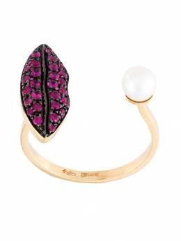 Delfina Delettrez кольцо Lips Piercing из желтого золота с рубинами ANA1012F