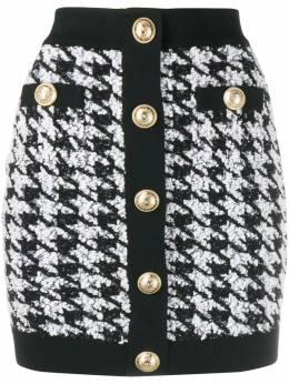 Balmain юбка мини в ломаную клетку SF14214K460