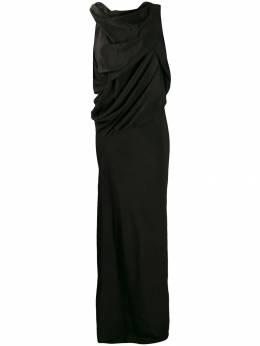 Rick Owens длинное платье с драпировкой RP19F5571CC