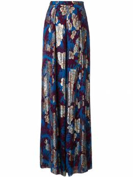 Talbot Runhof metallic floral wide-leg trousers NIL9CS50
