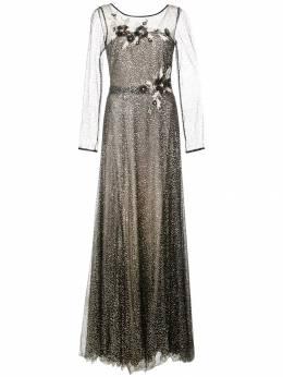 Marchesa Notte вечернее платье с цветочной аппликацией N31G0916