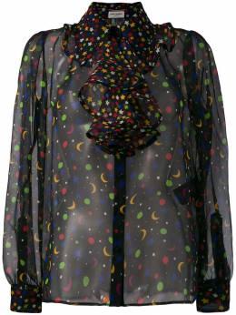 Saint Laurent полупрозрачная блузка Constellation 568419Y778U