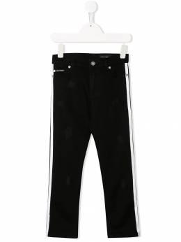 Dolce & Gabbana Kids состаренные джинсы с боковыми вставками L42F04LD777