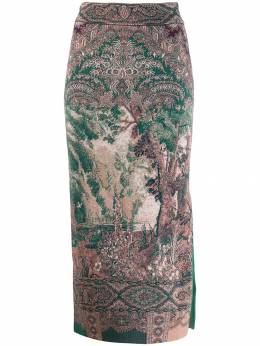 Etro юбка-карандаш миди с принтом 181809162