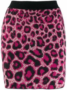 Alberta Ferretti трикотажная юбка с леопардовым принтом J01845107