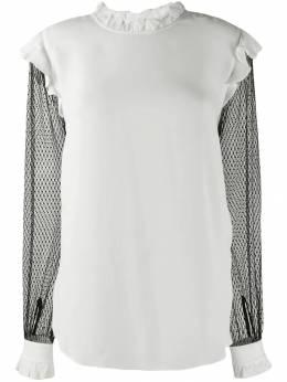 Twin-Set блузка с контрастными прозрачными рукавами 192TP2362