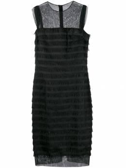 Balenciaga Pre-Owned платье 2000-х годов с прозрачными вставками и бахромой BALE750A