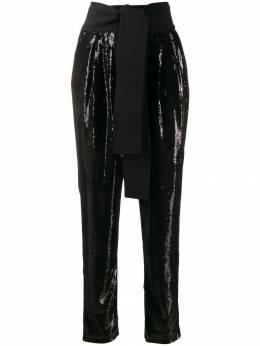 P.a.r.o.s.h. брюки с пайетками и поясом на завязках PILLED230408