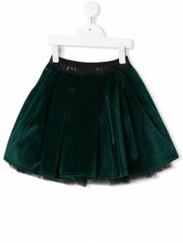 John Richmond Junior бархатная плиссированная юбка RGA19165GOHB