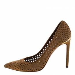 Louis Vuitton Brown Perforated Suede Eyeline Pointed Toe Pumps Size 38 210770
