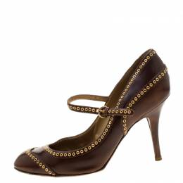 Sergio Rossi Brown Leather Eyelets Strap Pumps Size 37.5 208395