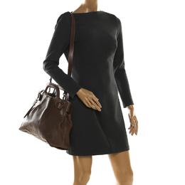Salvatore Ferragamo Brown Leather Medium Soft W Top Handle Bag 209541