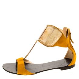 Giuseppe Zanotti Design Yellow Suede Chain T Strap Ankle Cuff Flats Sandals Size 37 209403