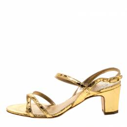 Chanel Metallic Gold Leather CC Open Toe Slingback Sandals Size 37