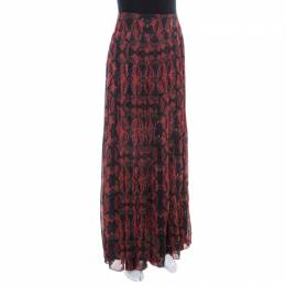 Alice + Olivia Red Romantic Butterfly Print Chiffon Pleated Maxi Skirt S 211249